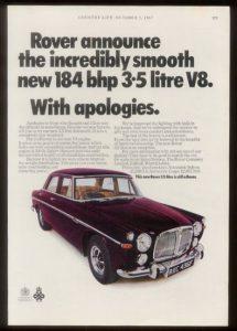 Cette publicité américaine de 1968 pour la P5B ironise sur la concurrence, larguée...la puissance annoncée de 184 chevaux est calculée selon les normes américaines, plus flatteuses.