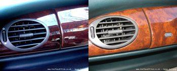 Le changement sans doute le plus visible lié à Project Drive sur la Rover 75 : le remplacement du tableau de bord en ronce de noyer (à gauche) par une imitation plastique à partir de décembre 2001 à droite), repérable en raison du changement d'apparence de la mention Airbag.
